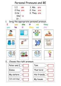 Personal pronouns and BE - Interactive worksheet