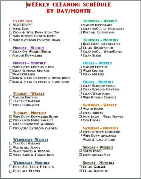 DAILY CLEANING SCHEDULE - WEEK 21 ⋆ LIVING 4 YOU BOUTIQUE
