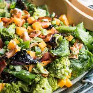 Broccoli Bacon Cheddar Salad with Basil Pesto Mayo