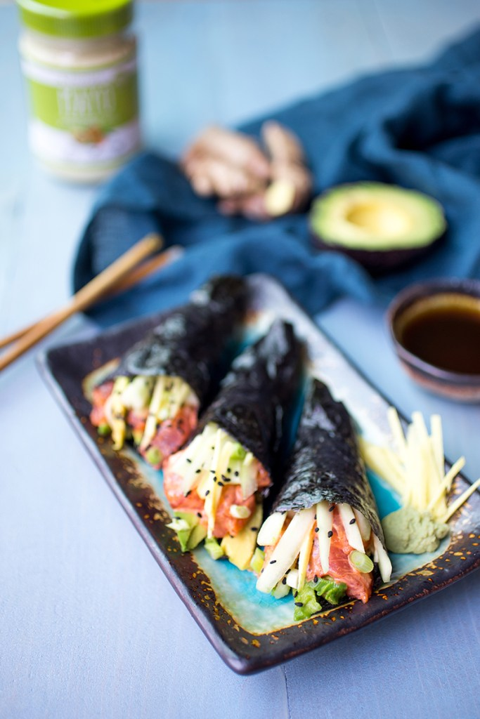 Paleo No Rice Spicy Tuna Hand Rolls