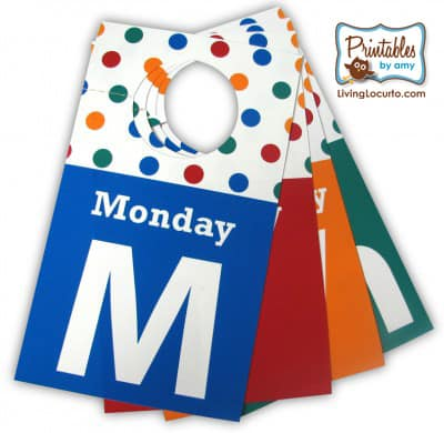 Days of the Week Closet Tags Back to School Organization Printable
