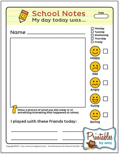 School Notes - Back to School Free Printable