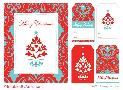 Red  Aqua Holiday Party Printables