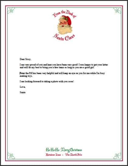 Letter From Santa Free Printable Santa Stationery