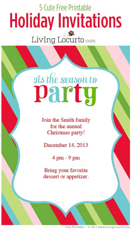 5 Free Printable Holiday Party Invitations - holiday party invitations free