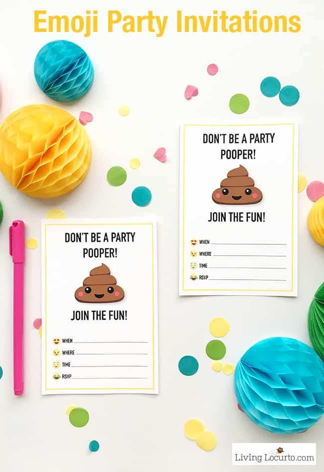 Emoji Party Ideas and Colorful Printables - free birthday invitation printable