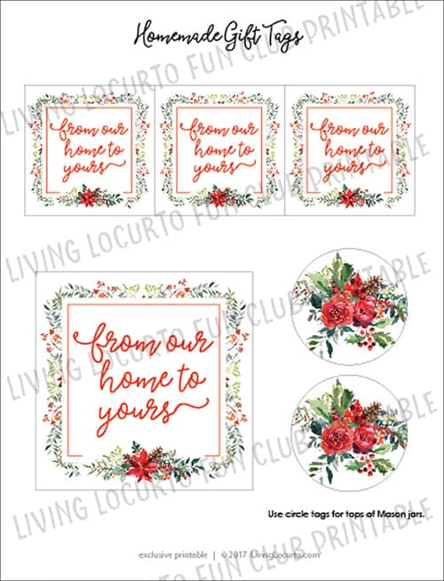 Winter Floral Printable Tags DIY Homemade Gift Ideas