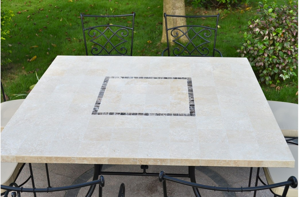 140x140cm Outdoor Indoor Square Marble Stone Dining Table