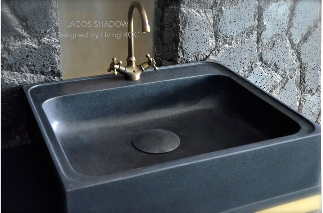 700mm Pure Black Granite Stone Kitchen Sink Lagos Shadow