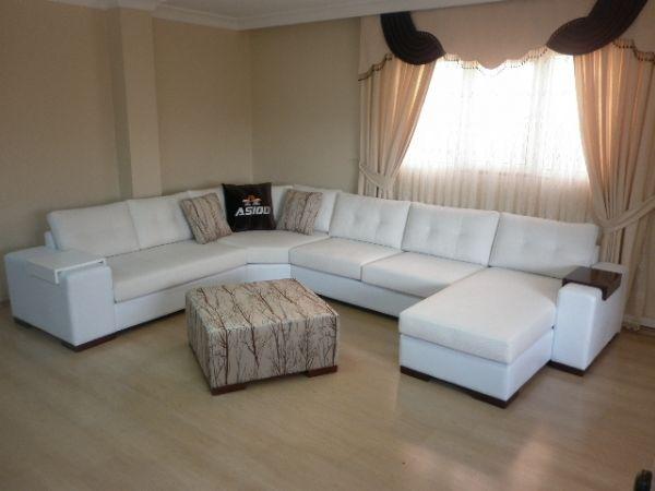 Sectional Living Room Corner Sofa with Sleeper White Exclusive Design - white sectional living room