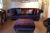 Chesterfield Sofa Black Fabric Classic - interior design