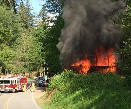Fire at King County trail bridge, 5/27/14.  Photo by Jason Weatherholtz