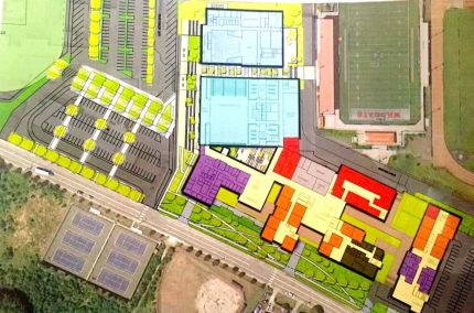 Schematic of MSHS site plan. Gym and Performing Art Center sit to the rear of the property with most of building lining Meadowbrook Way.