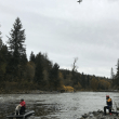 Preparing to help: Marine, helicopter Rescue crews practice in and over the Snoqualmie River