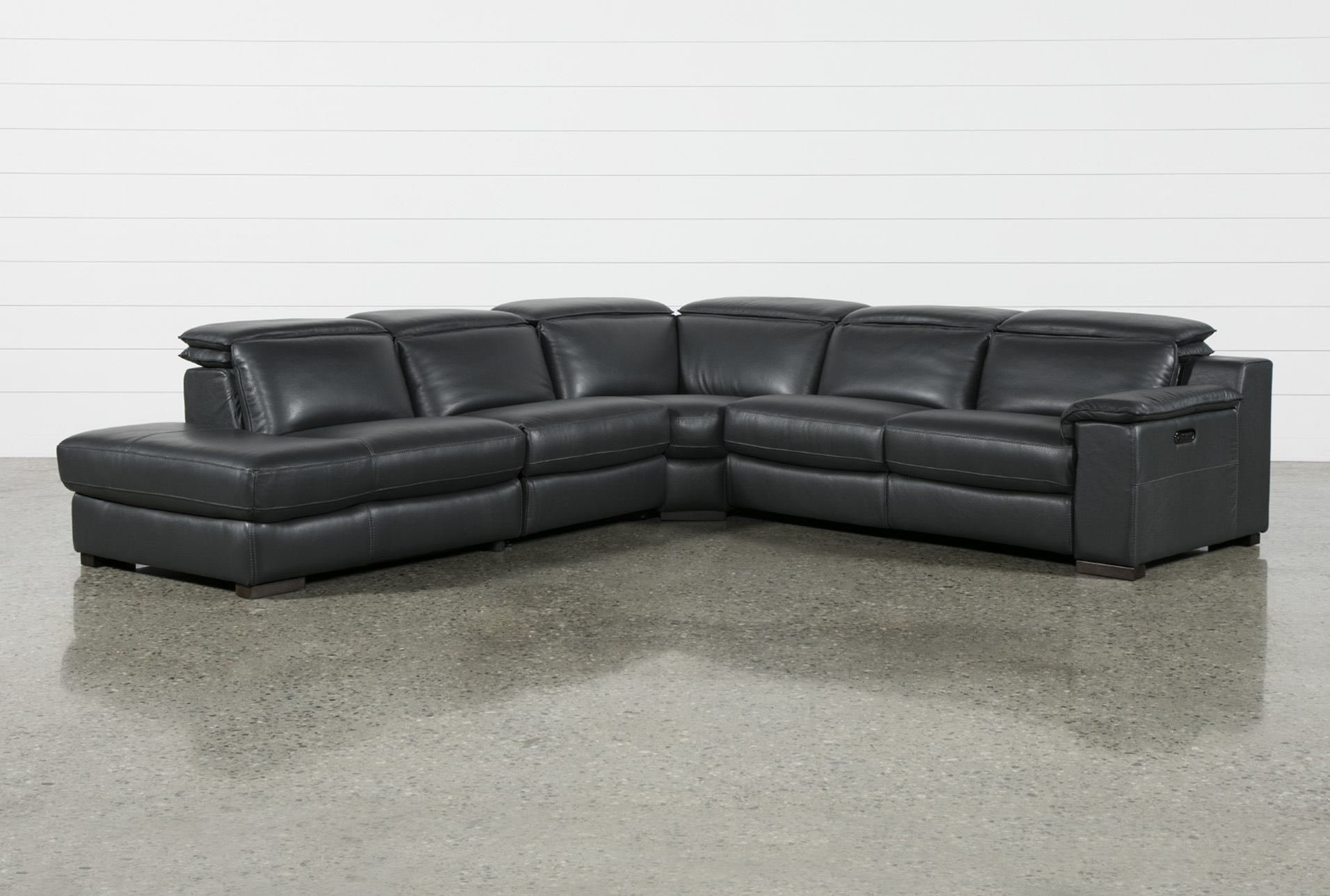 Hana Slate Leather 4 Piece Power Reclining Sectional With