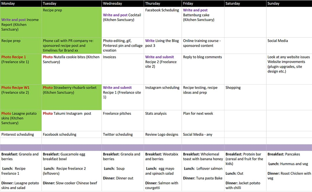 My Weekly Blogging Timetable \u003e Living The Blog
