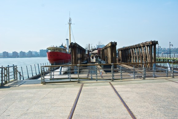 Pier 66 with Frying Pan, John J. Harvey, and railroad tracks