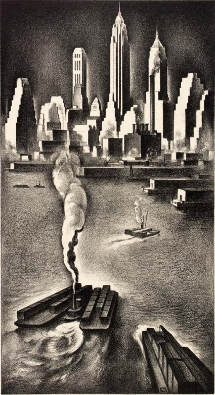 Lower Manhattan, 1936. Lithograph by Louis Lozowick. US National Archives.