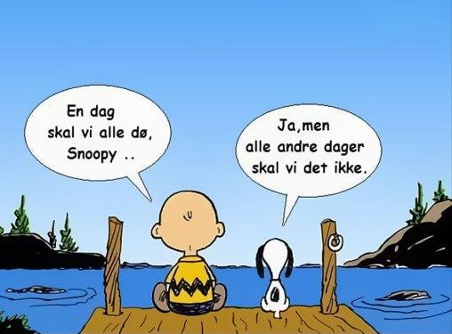 """Charlie Brown: """"En dag skal vi alle dø, Snoopy..."""" Snoopy: """"Ja, men alle andre dager skal vi det ikke."""""""