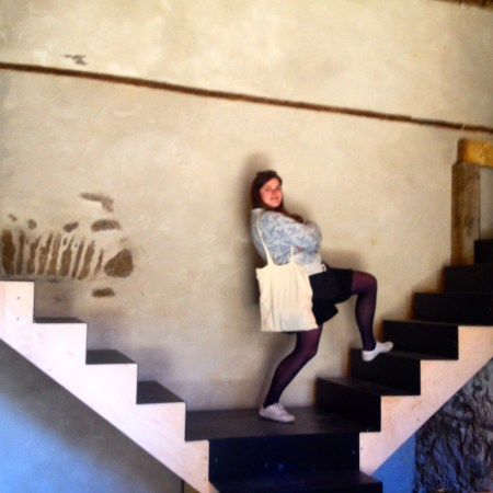 Lindsay demonstrates the stairs