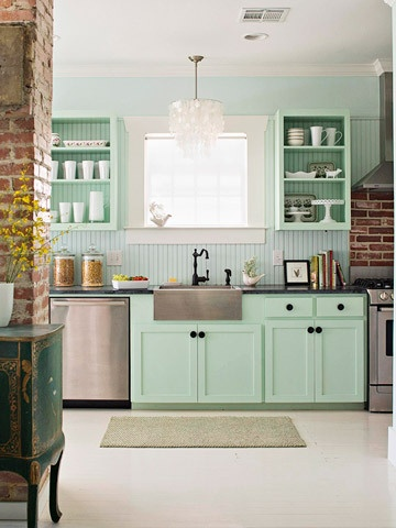 Could Go Bold With These Light Lovely Light Turquoise Kitchen Cabinets