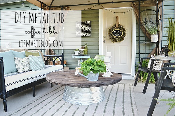 DIY wire spool & metal tub coffee table - lizmarieblog.com