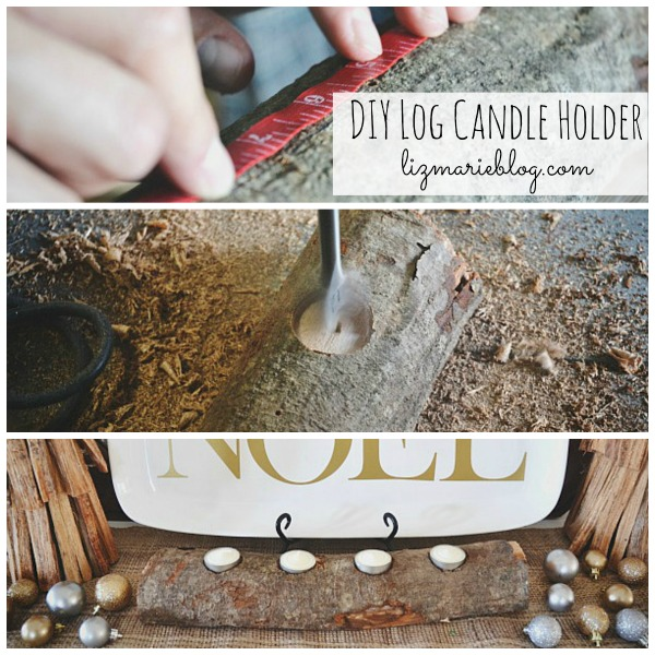 DIY log candle holder - lizmarieblog.com