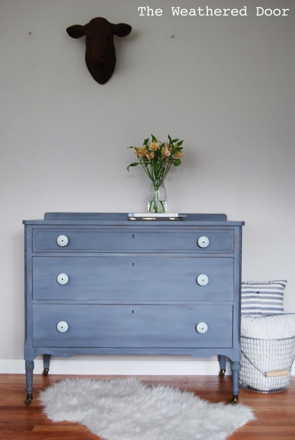 Grey-blue-purple dresser with light blue knobs WD-3