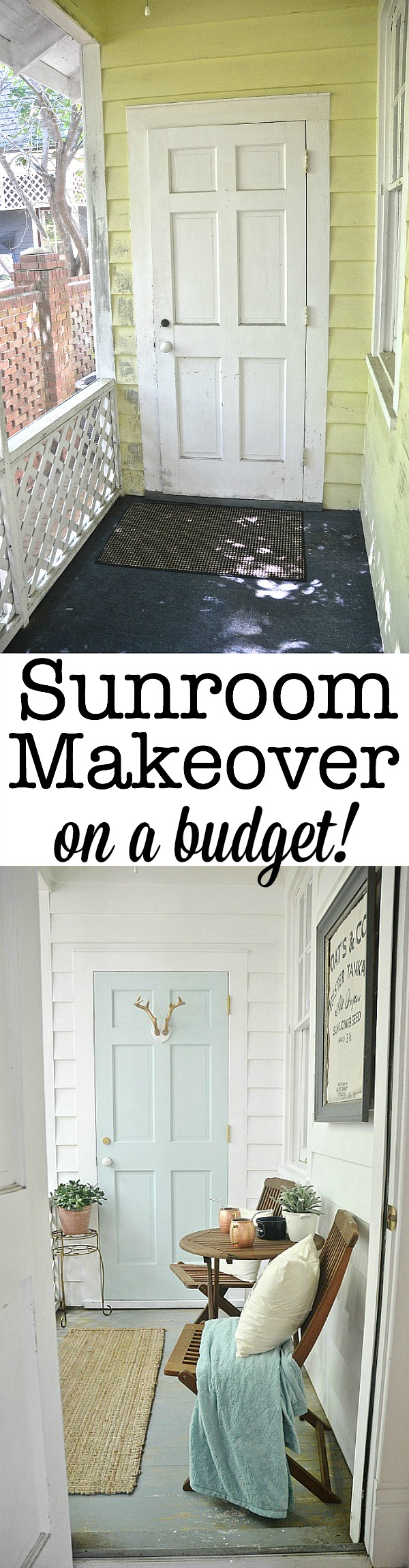 Sunroom makeover for the price of a can of paint! lizmarieblog.com