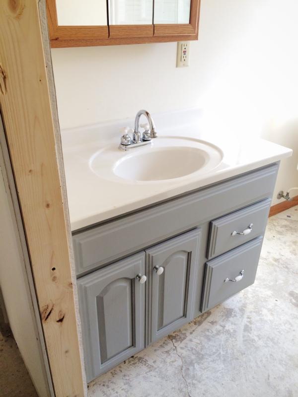 Update bathroom vanity with paint