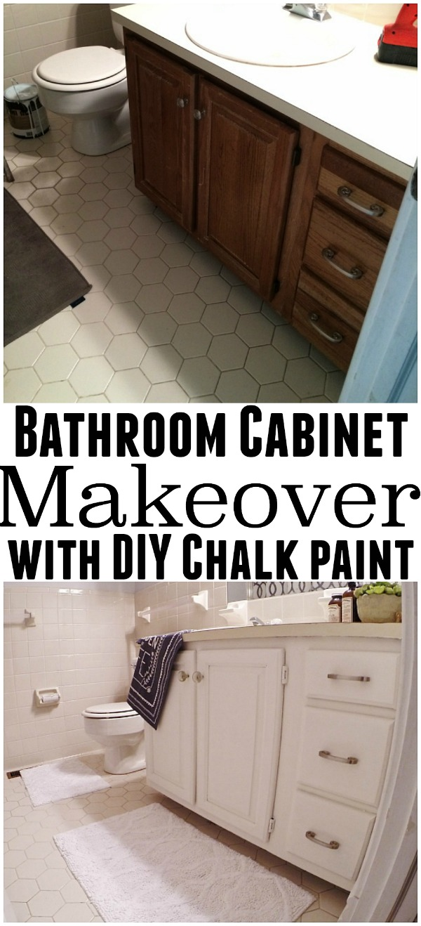 Bathroom vanity makeover with DIY chalk paint - So quick, affordable, & durable!