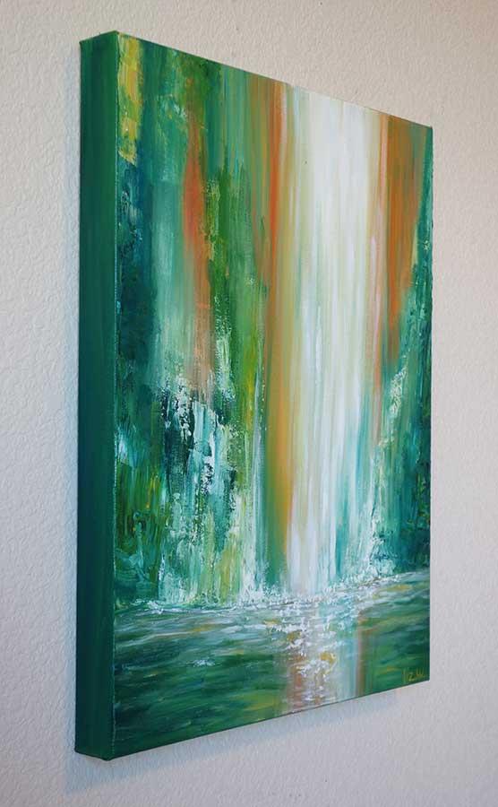 Wallpaper Falling Water Maui Falls Waterfall Painting Original Hawaii Waterfall