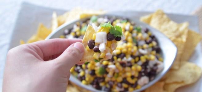 corn bean and feta dip