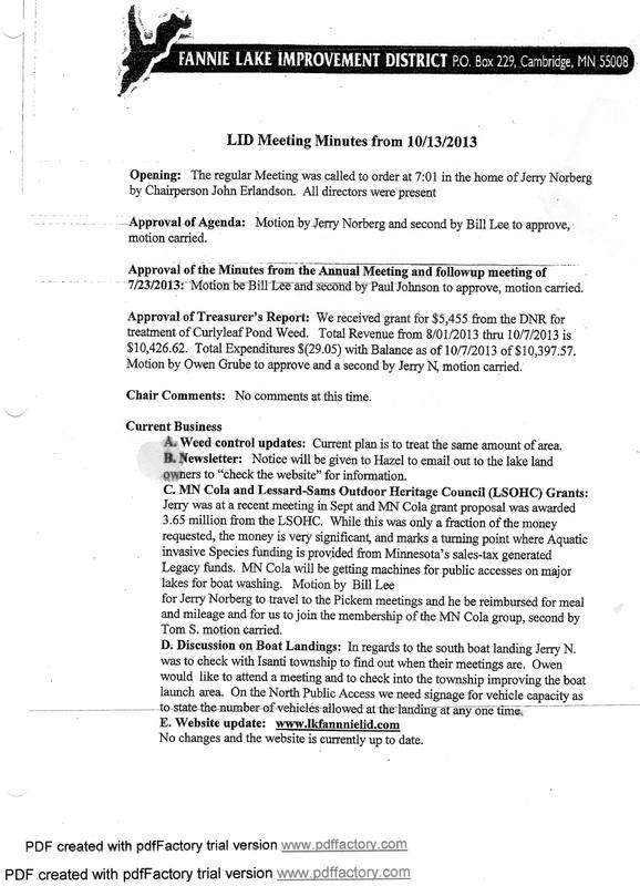 Meeting minutes/ Agenda - Fannie Lake Improvement District