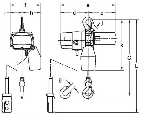 Single or Dual Speed Single Phase Electric Chain Hoist