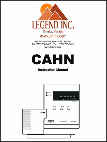 Cahn Instruction / Operation Manuals C-29 13233 - $5000  Legend - operation manual
