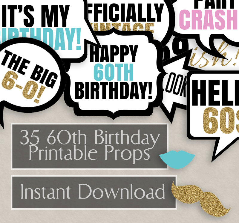 35 60th Birthday photo booth printable props, sixtieth party, sixty