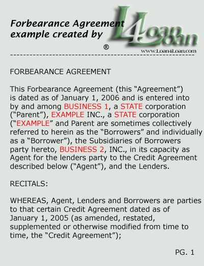 Forbearance Agreement - The Best Agreement Of 2018 - forbearance agreement template