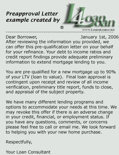 LOAN4LOAN Mortgage Loan Collection Preapproval Letter