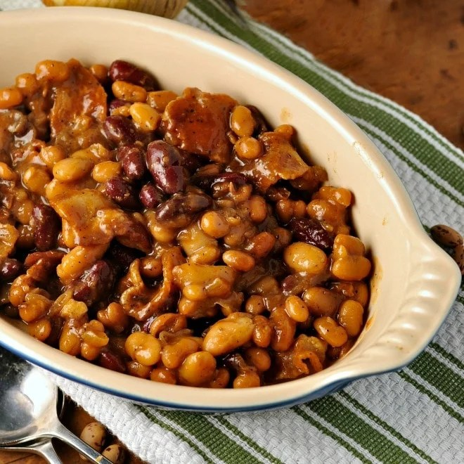 Clays Famous Baked Three Bean Casserole @loavesanddishes.net