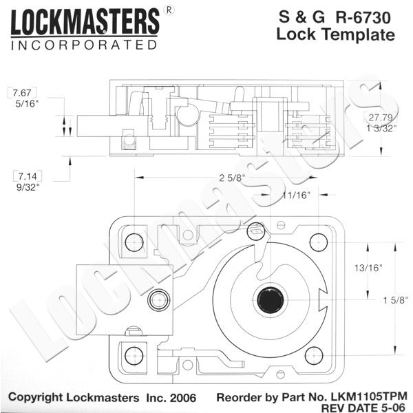 Lockmasters SG 6730 Magnetic Drill Template; LKM1105TPM - drill template