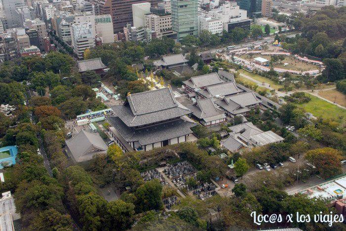 El Templo Zojo-ji desde la Torre de Tokio