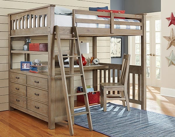 Solid wood full size adult loft bed with desk and dresser