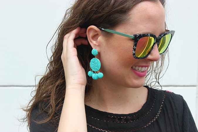 black lace dress earrings