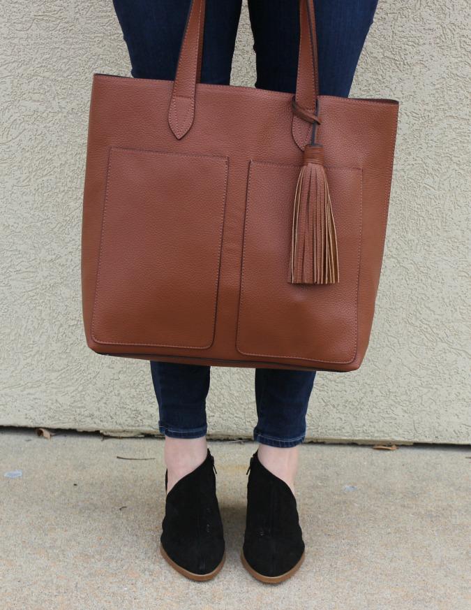 Brown Bag and Black Booties