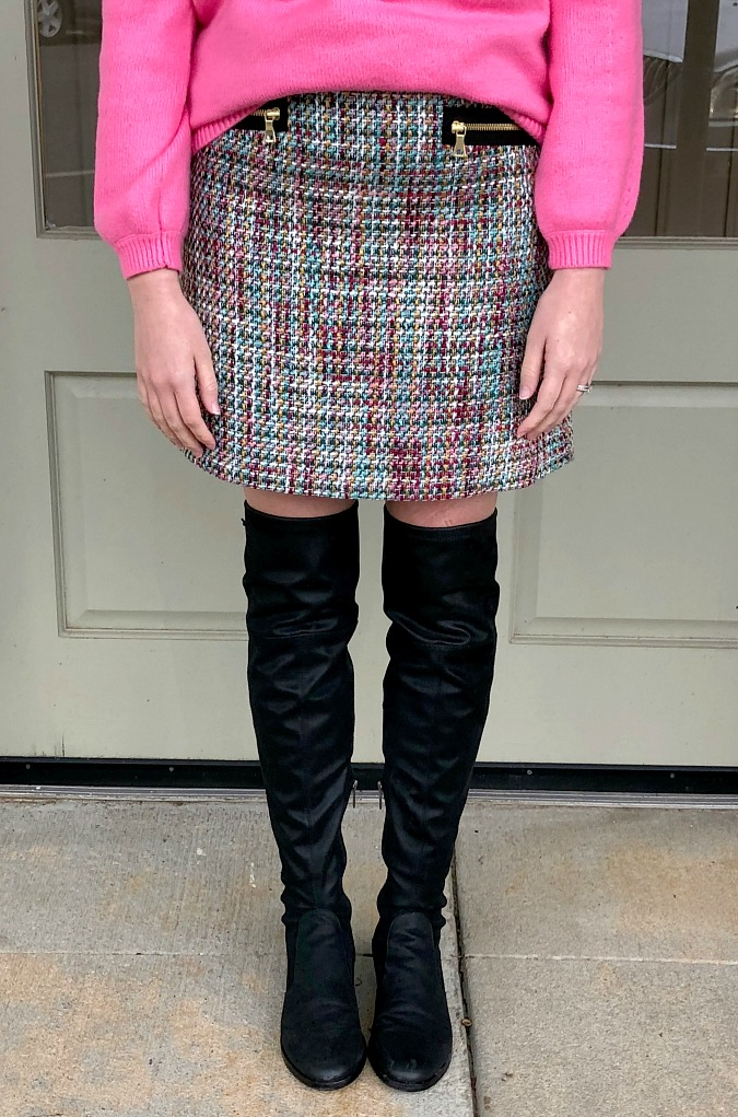 Over the Knee Boots and Tweed Skirt