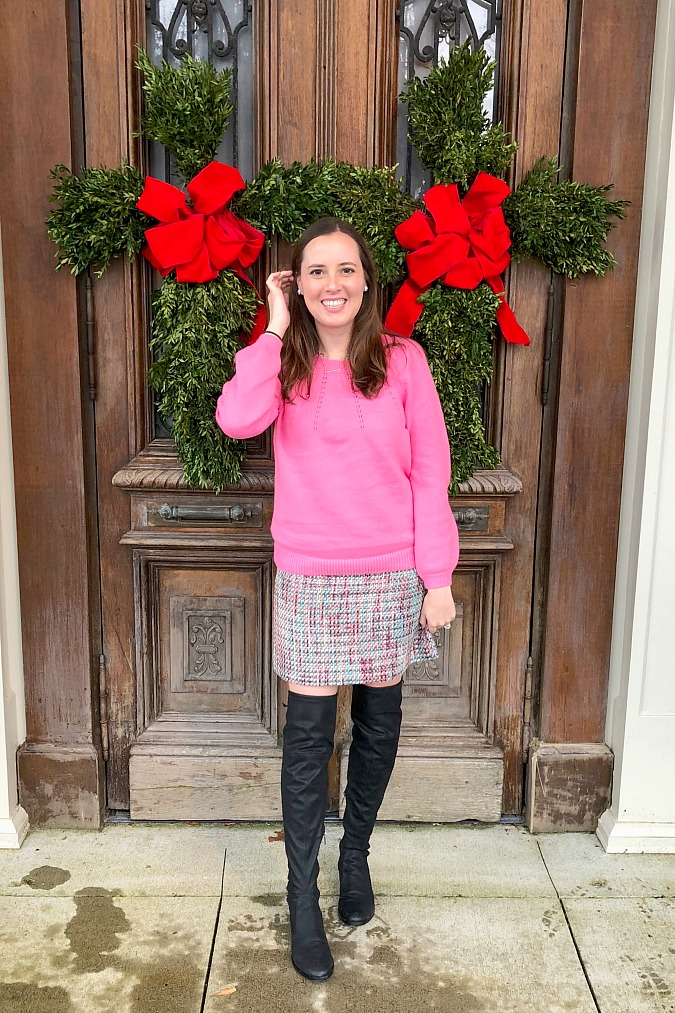 Pink Sweater and Festive Holiday Skirt
