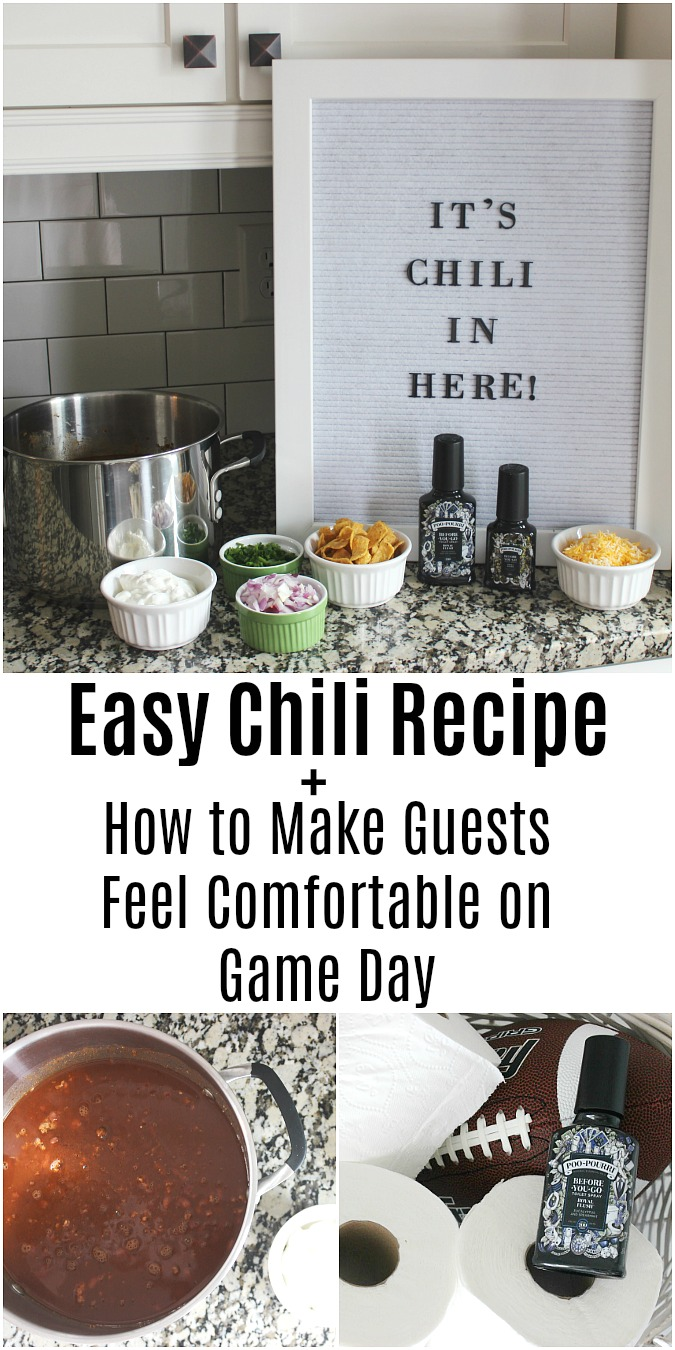 Chili Recipe + How to Make Guests Feel Comfortable on Game Day LoganCan.com