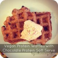 Vegan Protein Waffles with Chocolate Protein Soft Serve Recipe