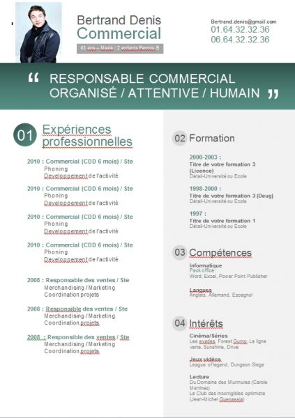 exemple de cv commercial word gratuit